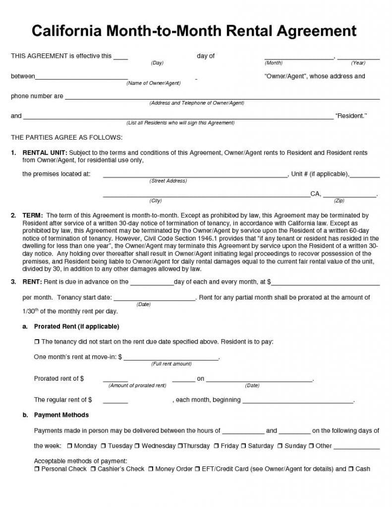 California Month to Month Rental Agreement