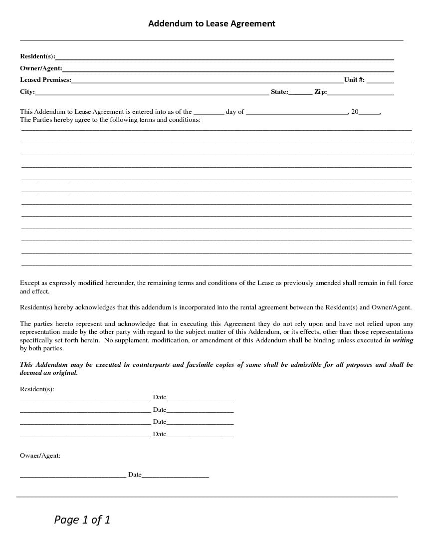 Blank Terms and Conditions - Addendum to Lease Agreement