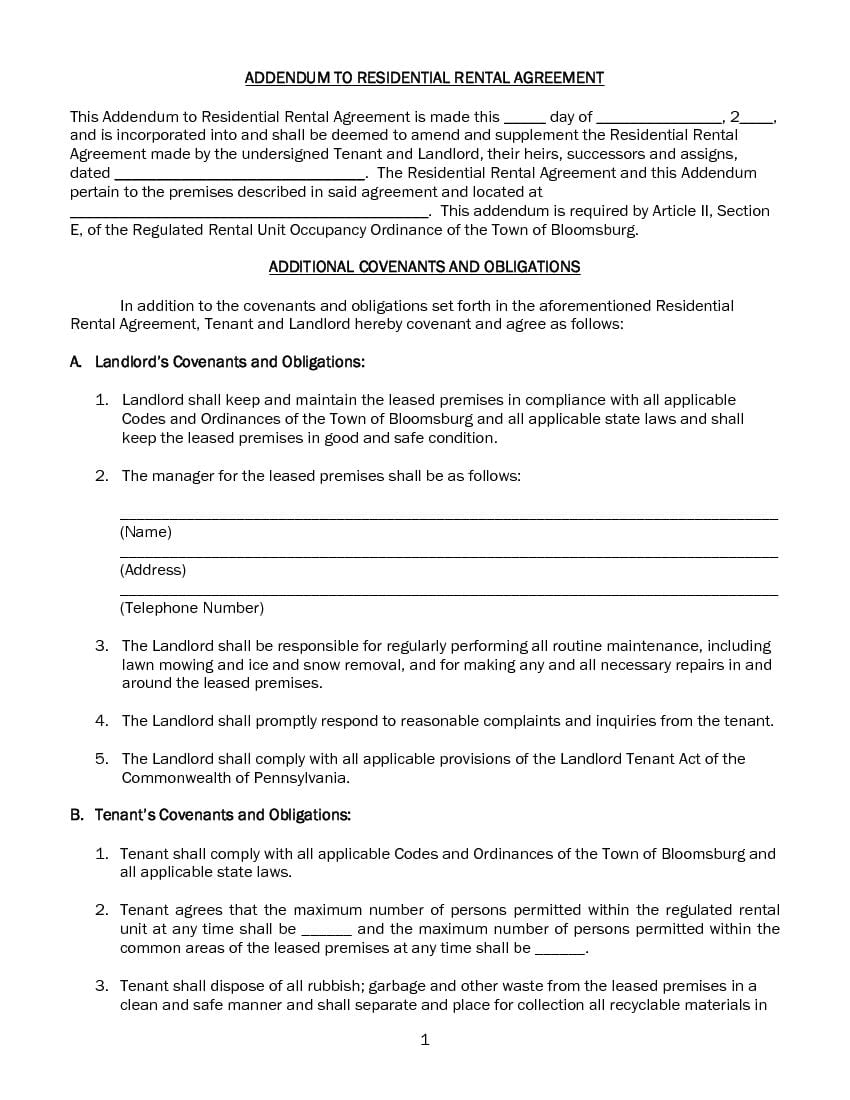 Pennsylvania Additional Covenants and Obligations - Addendum to Lease Agreement