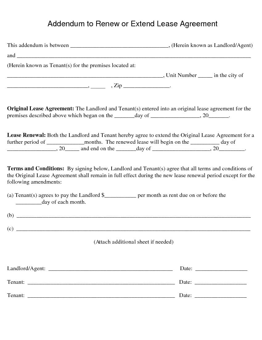 Free Addendum For Rental Lease Agreement Rental Lease