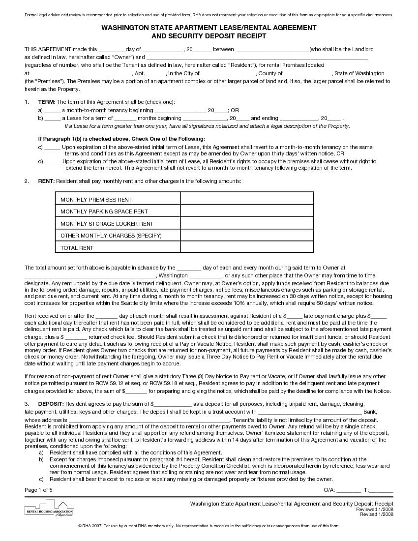Washington Apartment Lease Agreement