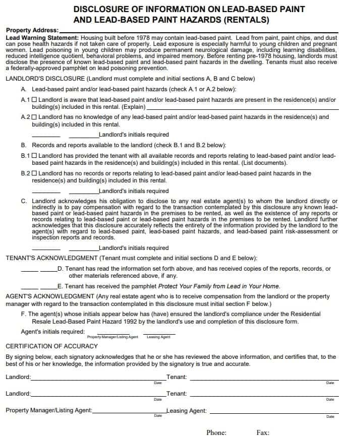 Arizona Lead Based Paint Disclosure Form