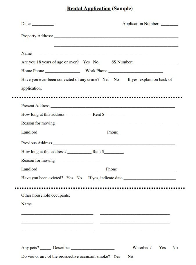 Free Basic Rental Application Form Pdf Docx