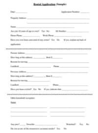 Basic Rental Application Form