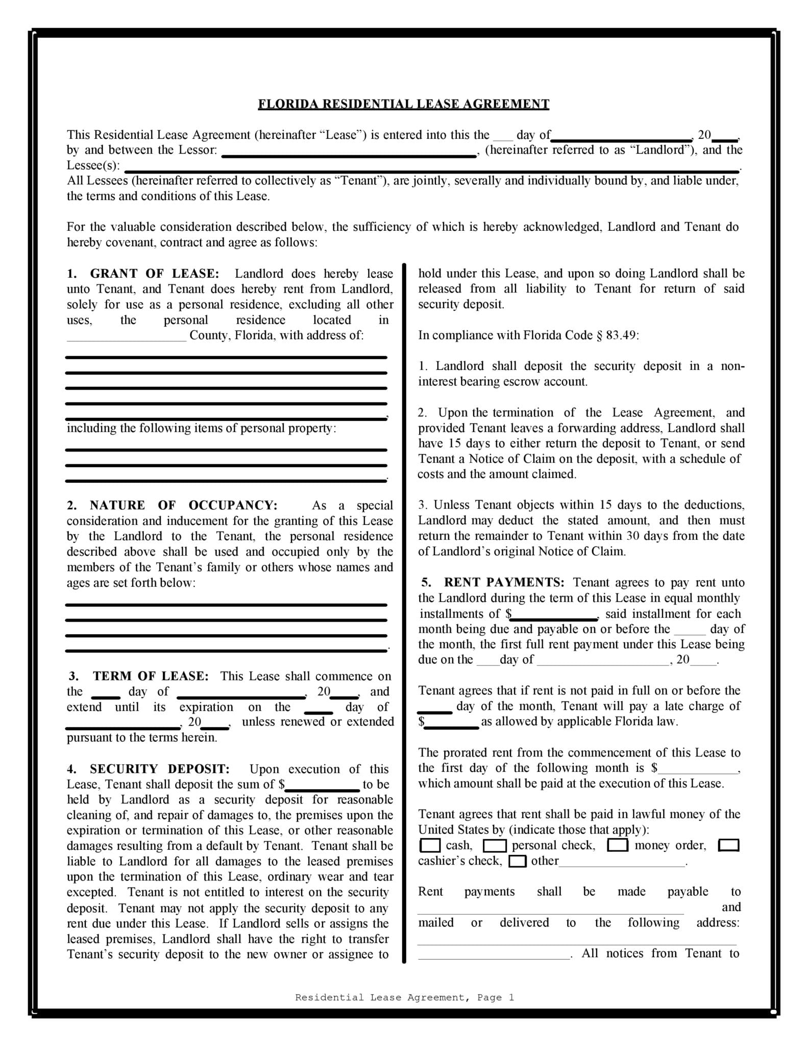 Free Florida Rental Lease Agreement Forms Pdf Docx