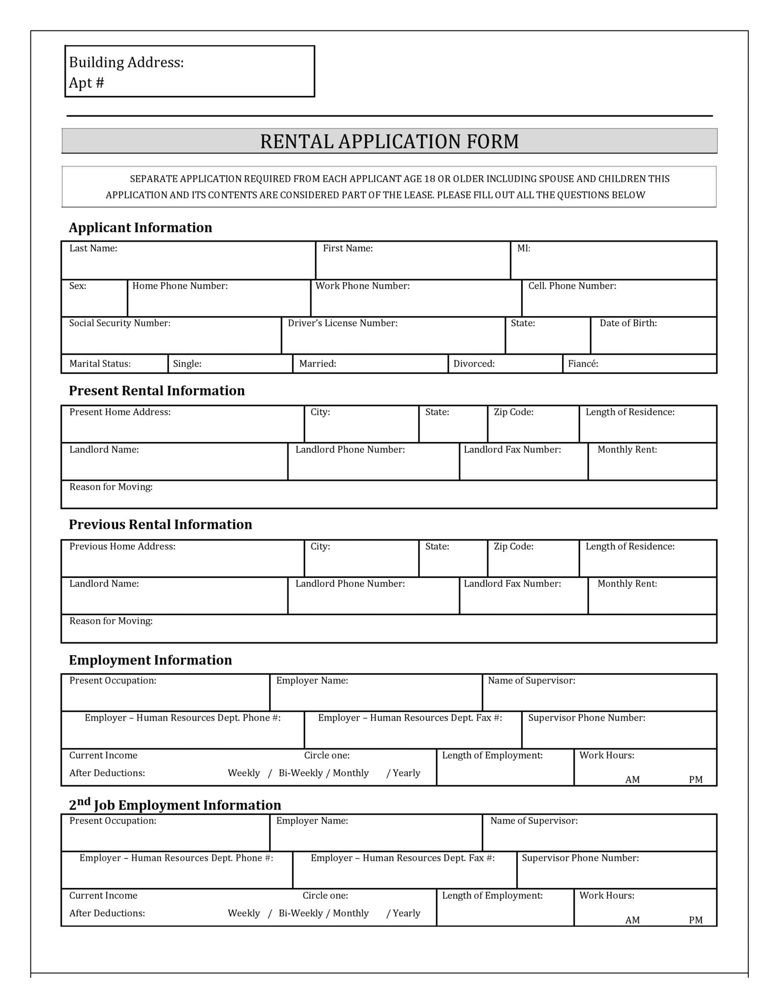 New York Rental Application Form