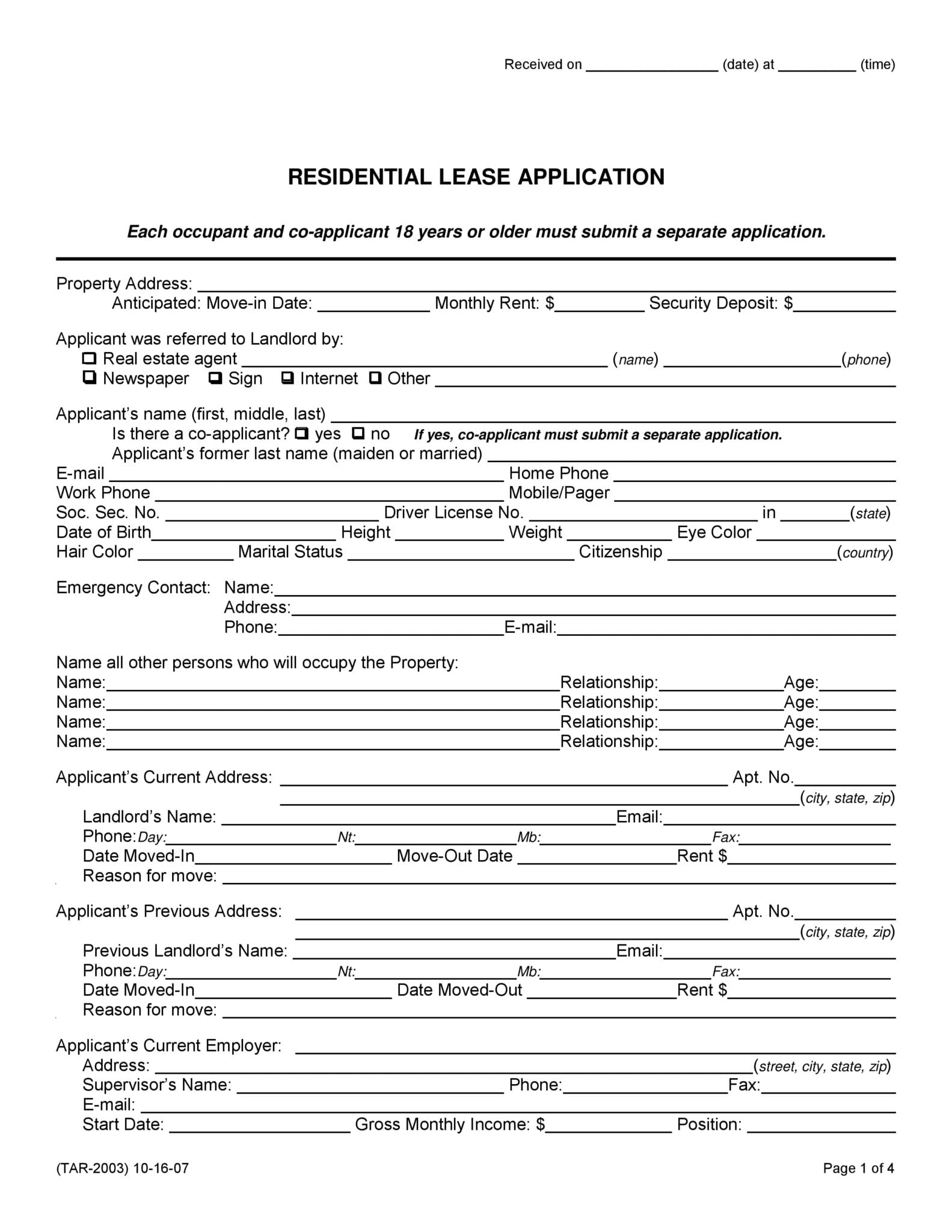 Free Texas Rental Lease Agreement Forms Pdf Docx