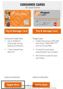 Home Depot apply for card