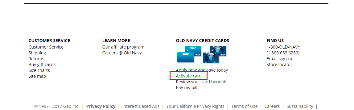 Activate Old Navy credit card