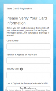 Activating your Sears card