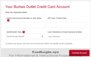 Burkes credit card login details recovery