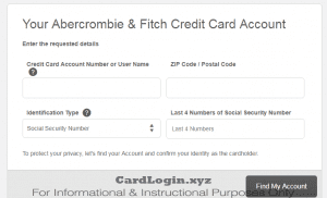 Abercrombie Find my Account
