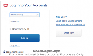 US Bank login page