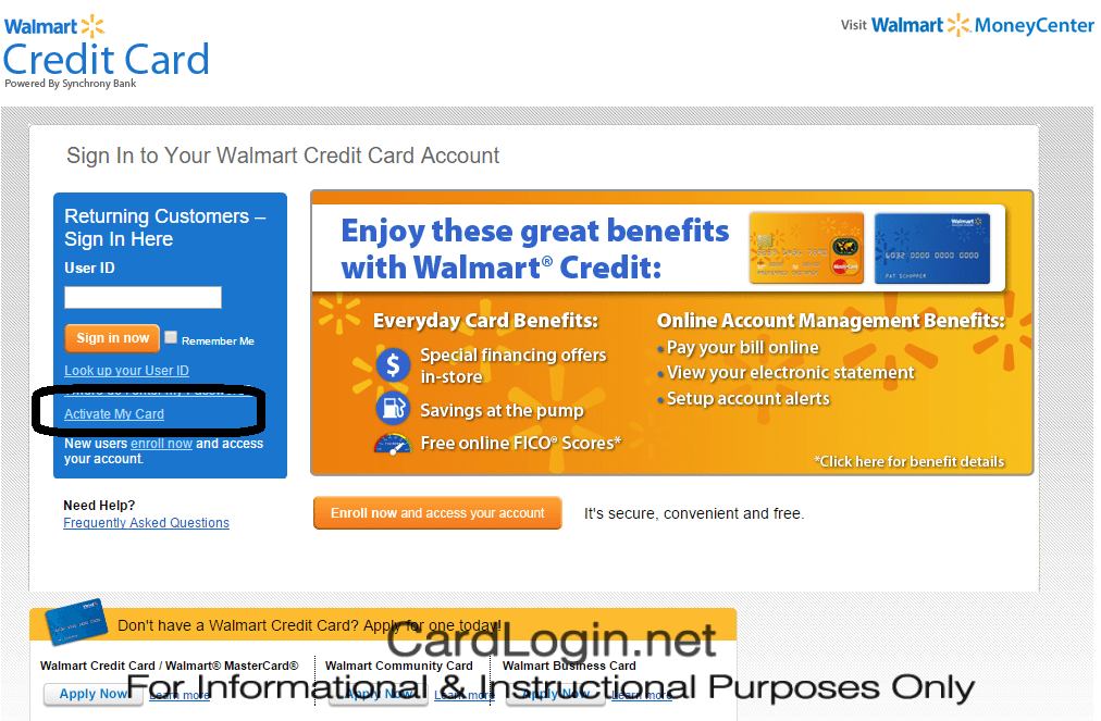 Activate Walmart Credit Card