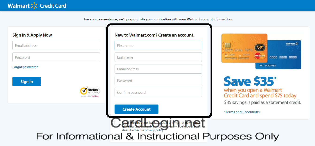 Create a Walmart Account