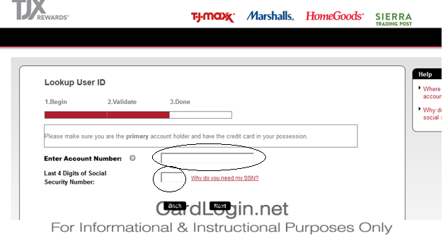 TJ Maxx Credit Card Forgot User ID and Password