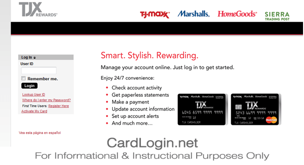 TJ Maxx Credit Card Login Page