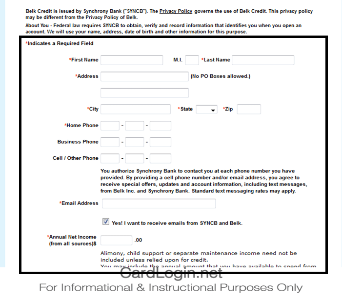 Belk Credit Card Application Form