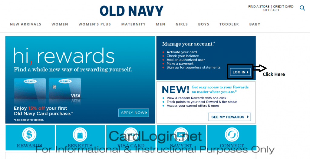 Old Navy Credit Card - Click on Login
