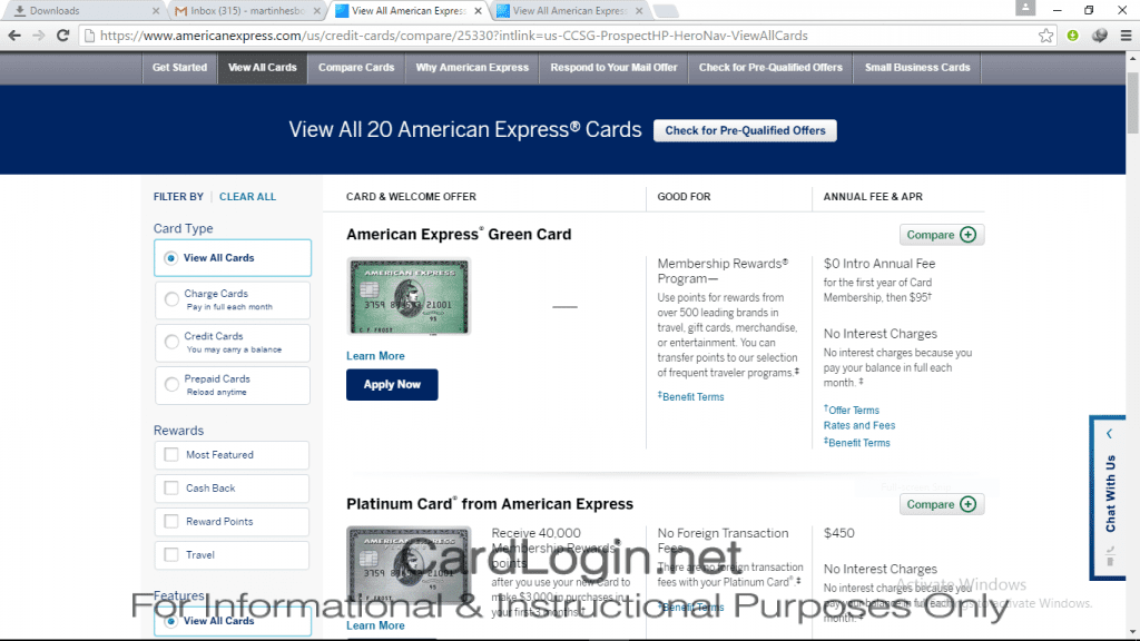 Amerian Express - Choose a Credit Card
