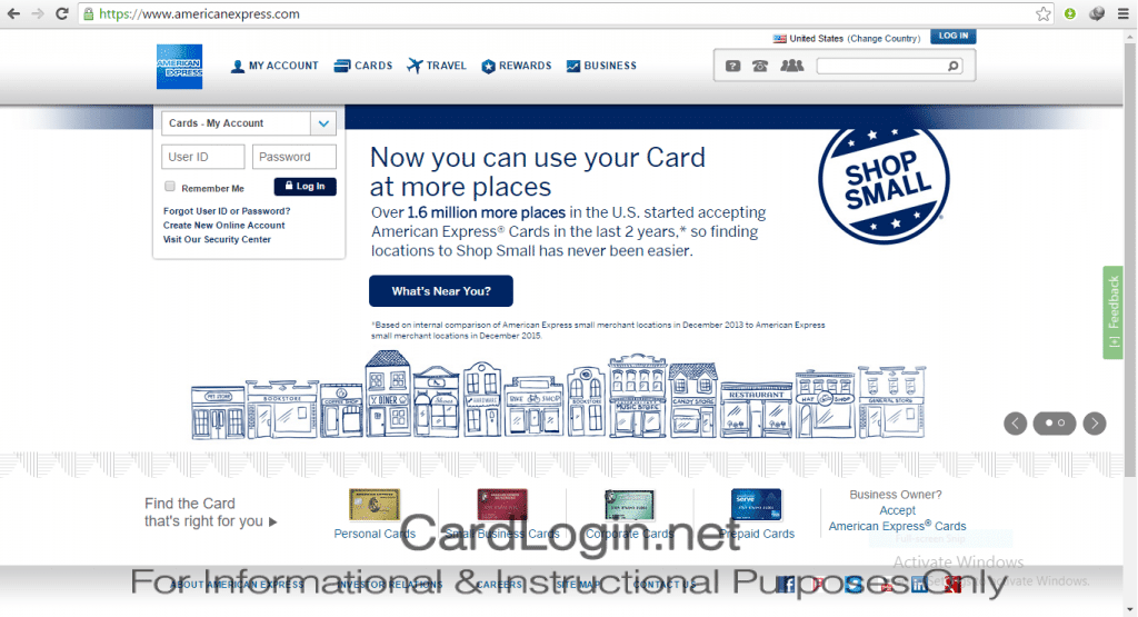 Amex Credit Card - Forgot User ID or Password