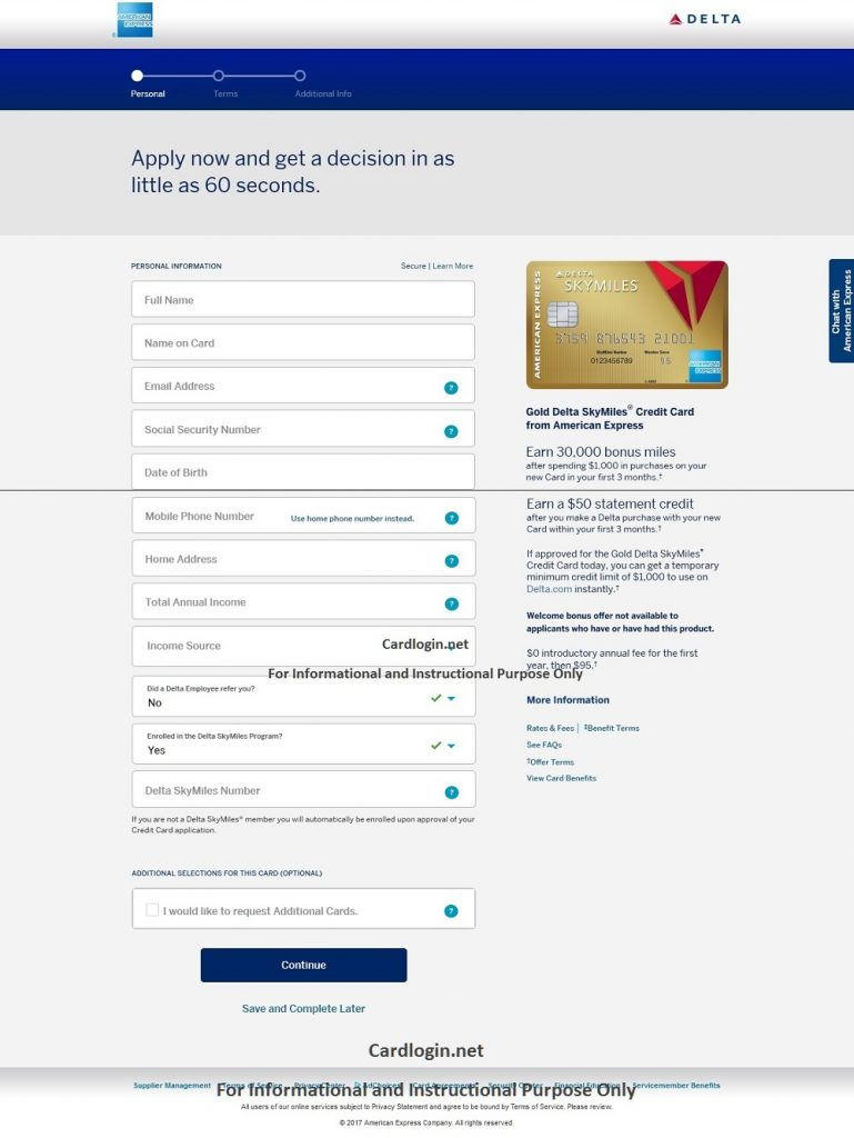 Delta credit card online application