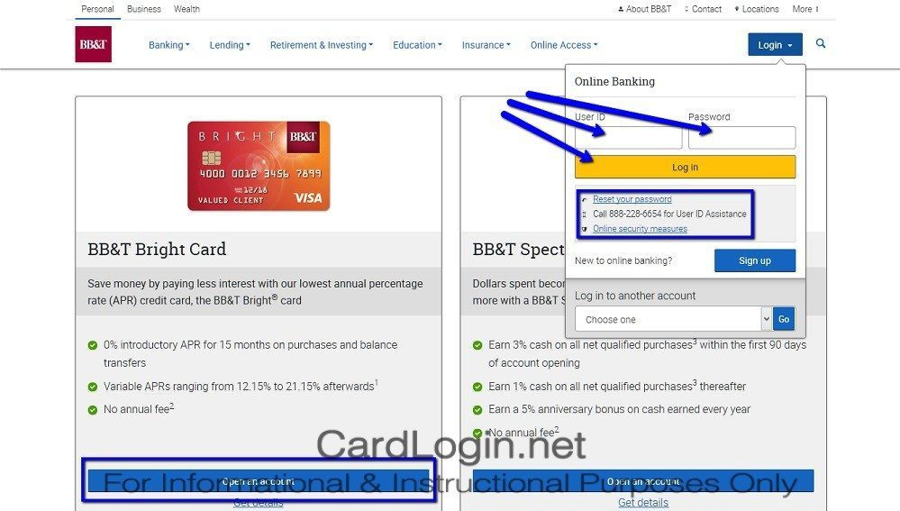BB&T_Bright_Visa_Credit_Card_Login