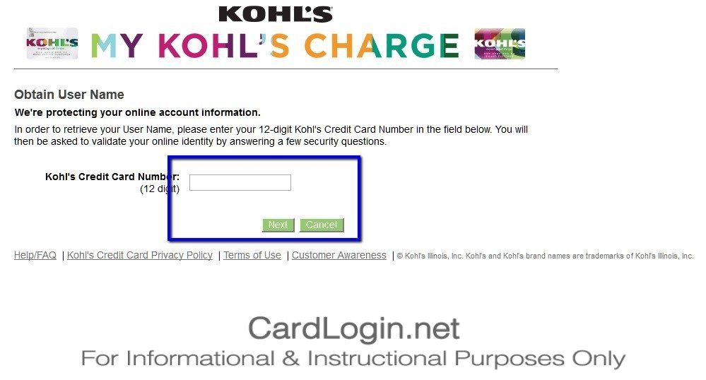 Forgot_Your_Kohl's_Charge_Credit_Card_User_ID_Or_Password_Step_1