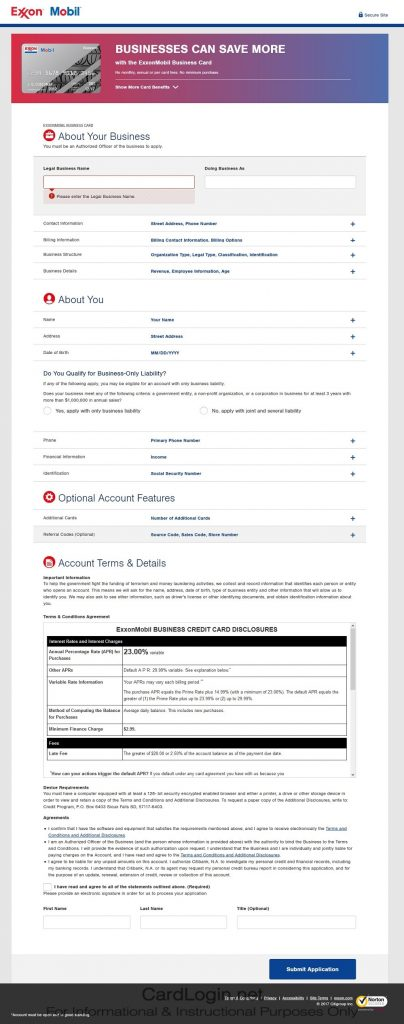 How To Apply For Exxon Mobil Business Credit Card